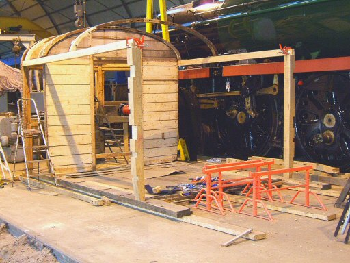 2007 - Major progress on fitting ash cant rail to cab and driving cab saloon partition and roof hoop tenons fettled and fitted onto Auto Coach No. 168 at Williton - November. This work is licenced under a Creative Commons Licence. © Ian Grady