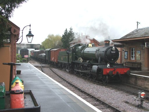 2007 - On photo charter duties, BR(W) 4-6-0 No. 7822 at Williton on 30 March. This work is licenced under a Creative Commons Licence. © Fotophile69