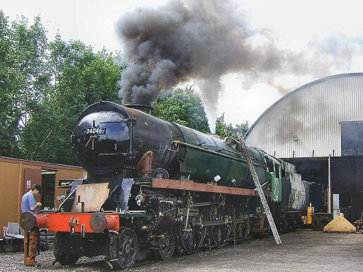 2007 - One safety valve is tested - SR 4-6-2 No. 34046 Braunton outside the Swindon Shed at Williton during its steam test on 25 July. This work is licenced under a Creative Commons Licence. © Ian Grady