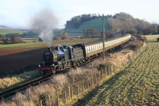 2007 - SDJR 2-8-0 No. 88 arrives at Williton on 23 December with the 2.35pm Santa Express from Bishops Lydeard. This work is licenced under a Creative Commons Licence. © Peter Nicholson
