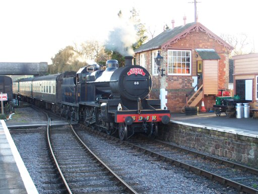 2007 - SDJR 2-8-0 No. 88 arrives at Williton with the Santa Express on 23 December. This work is licenced under a Creative Commons Licence. © Pauline Nicholson