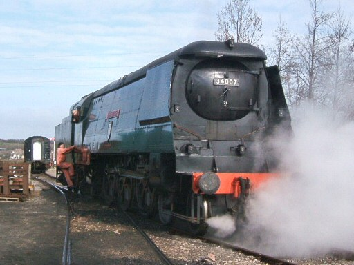 2007 - SR 4-6-2 No. 34007 Wadebridge at Williton on 14 March. This work is licenced under a Creative Commons Licence. © Ian Grady