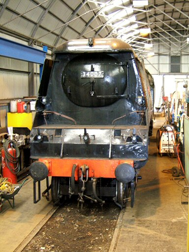 2007 - SR 4-6-2 No. 34007 Wadebridge in the Swindon Shed at Williton on 7 March. This work is licenced under a Creative Commons Licence. © Ian Grady