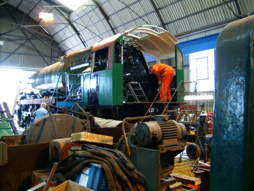 2007 - SR 4-6-2 No. 34046 Braunton at Williton Works on 9 June. This work is licenced under a Creative Commons Licence. © Ian Grady