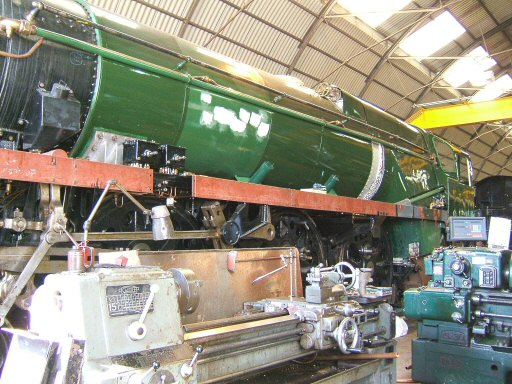 2007 - SR 4-6-2 No. 34046 Braunton in the Swindon Shed receiving attention and being painted on 26 August. This work is licenced under a Creative Commons Licence. © Ian Grady
