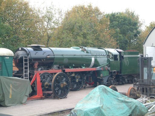 2007 - SR 4-6-2 No. 34046 Braunton outside the Swindon Shed at Williton on 26 October. This work is licenced under a Creative Commons Licence. © Angie Leach