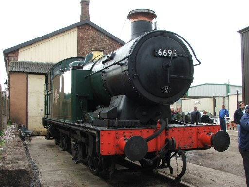 2007 - Swanage Railway based GWR 0-6-2T No. 6695 - here for a repair job - at Williton on 6 October. This work is licenced under a Creative Commons Licence. © Tony Down