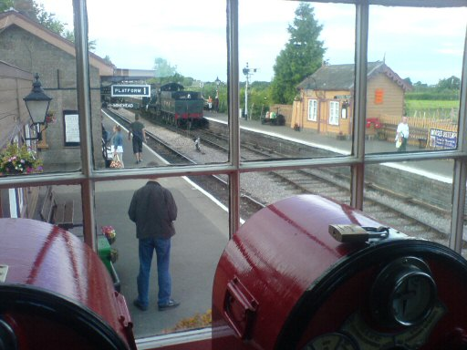 2007 - WSR 2-6-0 No. 9351 seen through the window of Williton Signal Box on 16 September. This work is licenced under a Creative Commons Licence. © Aaron Manley