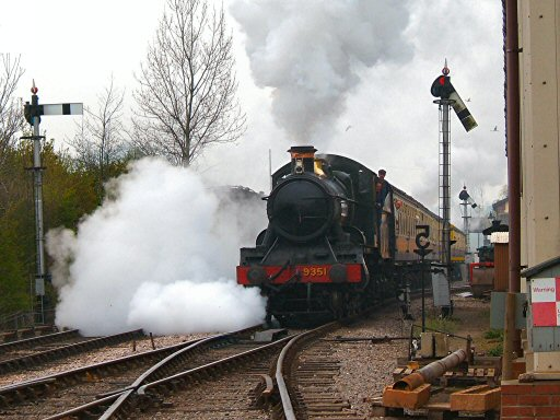 2007 - WSR 2-6-0 No. 9351 steams away from Williton Station on 13 April. This work is licenced under a Creative Commons Licence. © Ian Grady