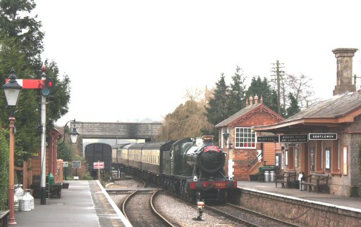 2008 - A seasonally-decorated GWR 2-8-0 no 3850 with the Santa Express arriving at Williton Station on 24 December. This work is licenced under a Creative Commons Licence. © Peter Darke