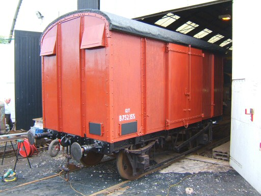 2008 - A virtually finished box van No. B752355 and ready for heritage goods set - seen outside williton shed in June. This work is licenced under a Creative Commons Licence. © Ian Grady