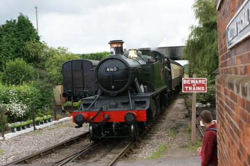 2008 - BR(W) 2-6-2T No. 4160 arriving at Williton Station on 24 August. This work is licenced under a Creative Commons Licence. © Melvyn Hudd