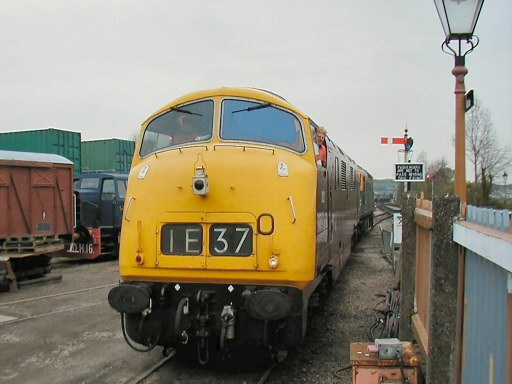 2008 - Class 42 No. D832 Onslaught is shunted into the South Yard at Williton by D6566 on 19 April. This work is licenced under a Creative Commons Licence. © Jon Tooke