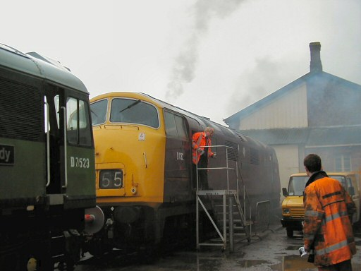 2008 - Class 42 No. D832 Onslaught is started up for evaluation purposes at Williton on 19 April. This work is licenced under a Creative Commons Licence. © Jon Tooke
