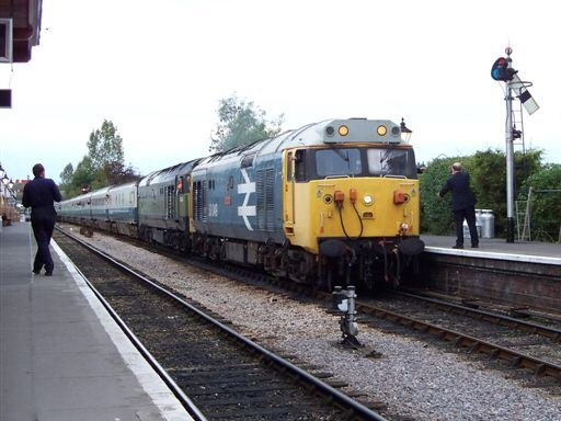 2008 - Class 50s nNos. D444 and 50049 at Williton with the returning special to Manchester on 18 October. This work is licenced under a Creative Commons Licence. © Jon Tooke