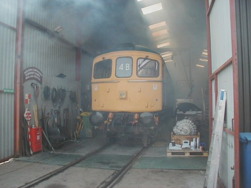 2008 - Crompton No. D6566 in the shed for a repaint into green livery at Williton Diesel Depot on 24 May. This work is licenced under a Creative Commons Licence. © Jon Tooke