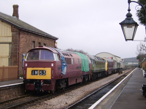 2008 - Diesel locomotives - Nos. D1010, D1661, D832, 33057, D7526 - stand on the down line at Williton during a shunting exercise on 29 November. This work is licenced under a Creative Commons Licence. © Owen Greenslade