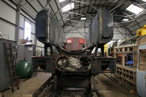 2008 - GWR 0-6-0PT No. 6412 undergoing overhaul at Williton on 6 April. This work is licenced under a Creative Commons Licence. © Andy Wray