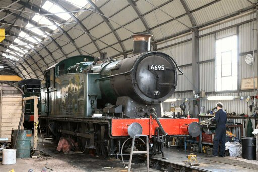 2008 - GWR 0-6-2T No. 6695 undergoing repairs in the Swindon Shed at Williton on 28 September. This work is licenced under a Creative Commons Licence. © Nigel Mann