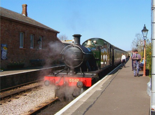 2008 - GWR 2-6-2T No. 5542 waits time at Williton Station on 4 April. This work is licenced under a Creative Commons Licence. © Ian Grady