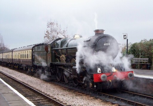 2008 - GWR 4-6-0 No. 6024 King Edward I at Williton during a loaded test runs on 29 November. This work is licenced under a Creative Commons Licence. © Jon Tooke