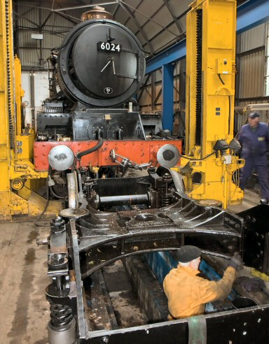 2008 - GWR 4-6-0 No. 6024 King Edward I undergoing repairs at Williton on 25 October. This work is licenced under a Creative Commons Licence. © Mike Dunse