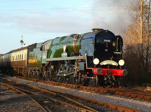 2008 - In lovely winter sunshine, SR 4-6-2 No. 34046 Braunton with a Steam Engineman special at Williton on 17 December. This work is licenced under a Creative Commons Licence. © Ian Grady