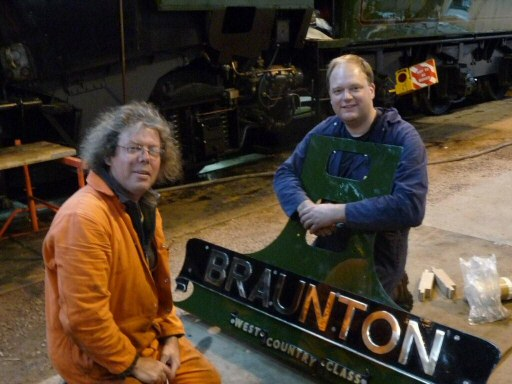 2008 - Keith Speller and Stuart Nelhams prepare the nameplate for SR 4-6-2 No. 34046 Braunton at Williton on 23 September. This work is licenced under a Creative Commons Licence. © JA
