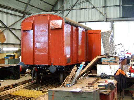 2008 - Looking good - Box Van No. B752355 inside the Swindon Shed at Williton on 16 April. This work is licenced under a Creative Commons Licence. © Ian Grady