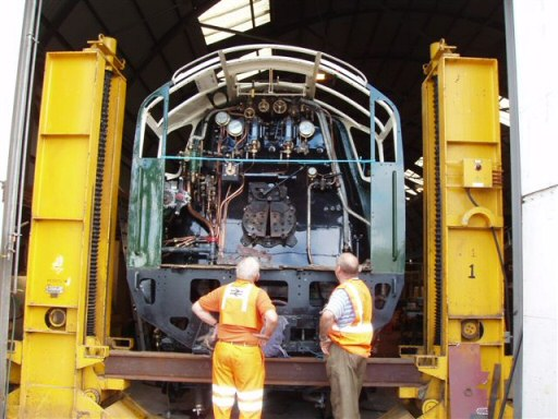 2008 - Members of the WSRA PW Gang admire the cab of SR 4-6-2 No. 34046 Braunton at Williton on 6 July. This work is licenced under a Creative Commons Licence. © Malcolm Anderson
