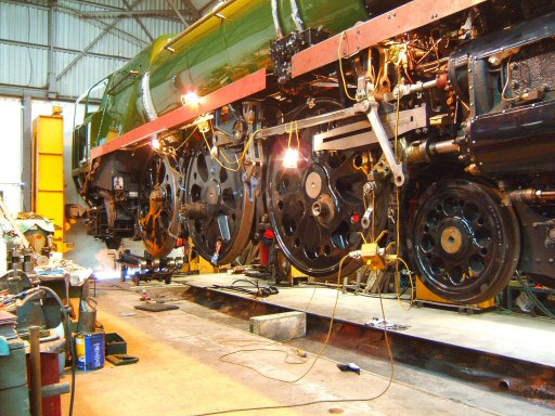 2008 - No. 34046 Braunton in the air on jacks to assist refitting inside motion, sanders as work progress towards steaming - seen on 18 June. This work is licenced under a Creative Commons Licence. © Ian Grady