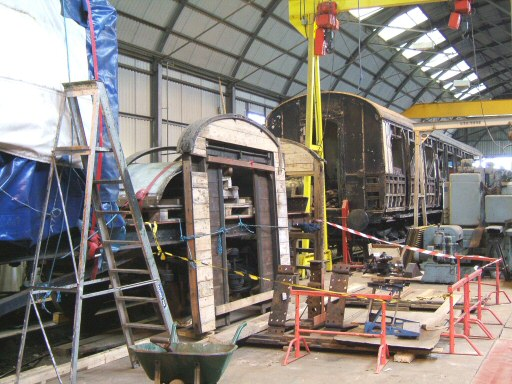 2008 - Parts of GWR Auto Trailer No. 169 inside the Swindon Shed at Williton on 15 October. This work is licenced under a Creative Commons Licence. © Ian Grady