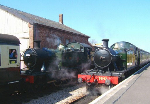 2008 - Prairie meeting - GWR 2-6-2T Nos. 5542 and 5553 at Williton Station on 4 April. This work is licenced under a Creative Commons Licence. © Ian Grady