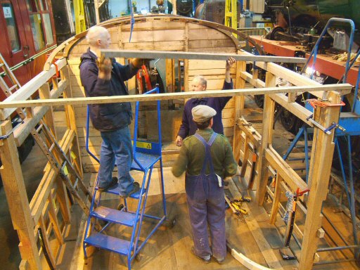2008 - Progress on Auto Coach No. 169 showing driving cab bulkhead and roof hoops in place on 6 February. This work is licenced under a Creative Commons Licence. © Ian Grady