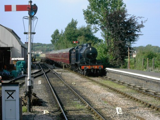 2008 - SDJR 7F 2-8-0 no 88 arriving at Williton on 30 August. This train (and the earlier working from Bishops Lydeard) was loaded to ten carriages. This work is licenced under a Creative Commons Licence. © Ian Monkton