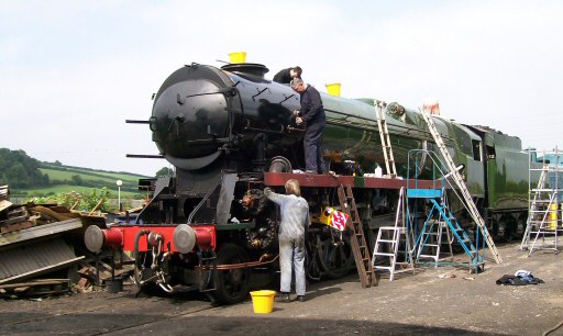 2008 - SR 4-6-2 No. 34036 Braunton receiving a good polish on 30 August. This work is licenced under a Creative Commons Licence. © Claire Sheppy