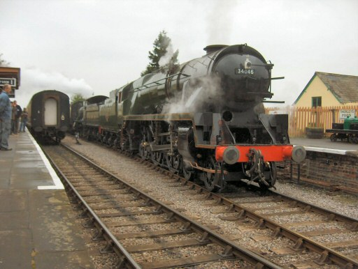 2008 - SR 4-6-2 No. 34046 Braunton with its first public service train, in tandem with WSR 2-6-0 No. 9351, at Williton on 17 September. This work is licenced under a Creative Commons Licence. © Barrie Childs