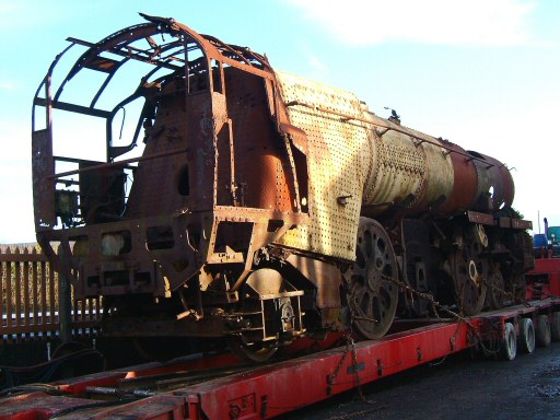 2008 - SR 4-6-2 No. 35011 General Steam Navigation on a road transporter at Williton on 17 December. This work is licenced under a Creative Commons Licence. © Ian Grady