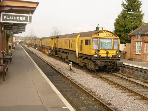 2008 - The rail-grinding machine at Williton Station on 29 January. This work is licenced under a Creative Commons Licence. © Dick Osborne