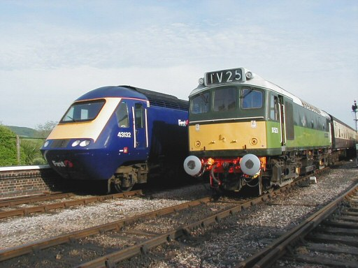 2008 - The return working of the FGW Minehead Marauder excursion at Williton alongside D7523 on a down ECS working on 10 May. This work is licenced under a Creative Commons Licence. © Jon Tooke