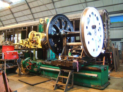 2008 - The slow and accurate process of machining out old crank pins on replacement axle for SR 4-6-2 No. 34046 Braunton at Williton in April. This work is licenced under a Creative Commons Licence. © Ian Grady