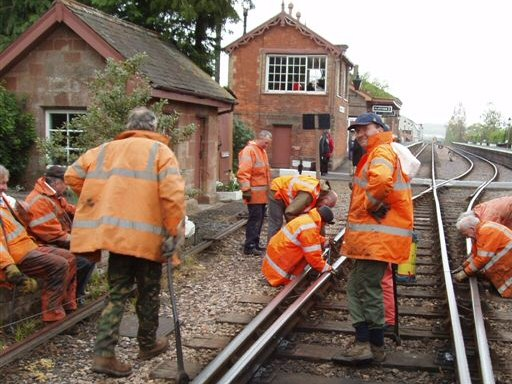 2008 - WSRA fishplate oiling gang reach Williton - the end of their stretch - on 27 April. This work is licenced under a Creative Commons Licence. © Malcolm Anderson