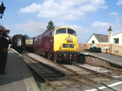 2008 - Warship class No. D832 Onslaught departing Williton Station bound for Bishops Lydeard on 30 August. This work is licenced under a Creative Commons Licence. © Claire Sheppy