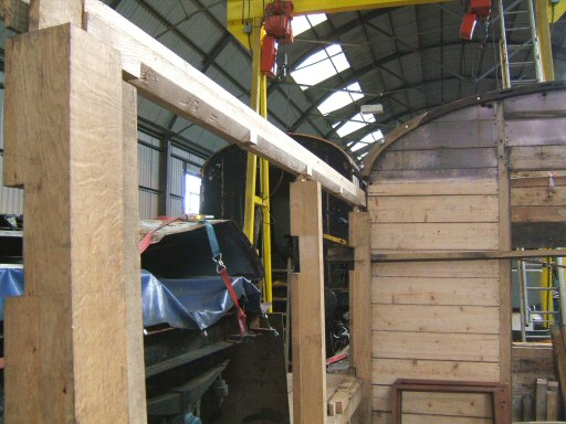 2008 - Work on the rebuilding of Auto Trailer No. 169 has restarted at Williton seen in early September. This work is licenced under a Creative Commons Licence. © Ian Grady