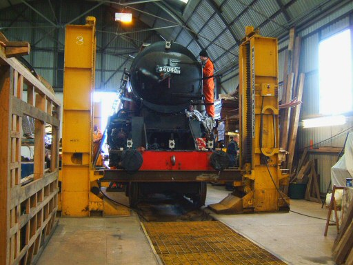 2008 - Work progressing on SR 4-6-2 No. 34046 Braunton at Williton in April. This work is licenced under a Creative Commons Licence. © Ian Grady