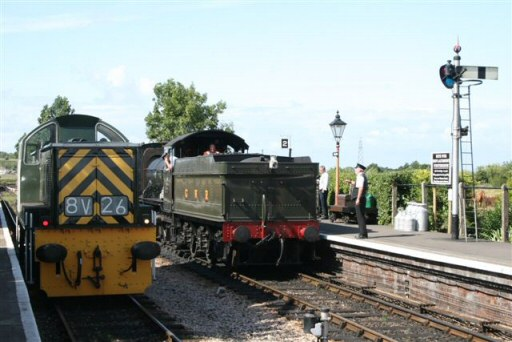 2010 - Class 14 No. D9526 at Williton preparing to return the 2.05pm ex Minehead, to Minehead following the failure of WSR 2-6-0 no 9351 on 5 August. This work is licenced under a Creative Commons Licence. © Paul Ritchie