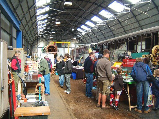 2010 - During the 2010 Autumn Steam Gala, the Swindon Shed at Williton housed several stands including the Auto Trailer no 169 steam bending demonstrations. This work is licenced under a Creative Commons Licence. © Ian Grady