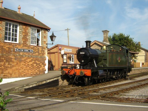 2010 - GWR 2-6-2T No. 5553 waits at Williton Signal Box awaiting the road to Blue Anchor early on 2 September. This work is licenced under a Creative Commons Licence. © Jeremy Dunn