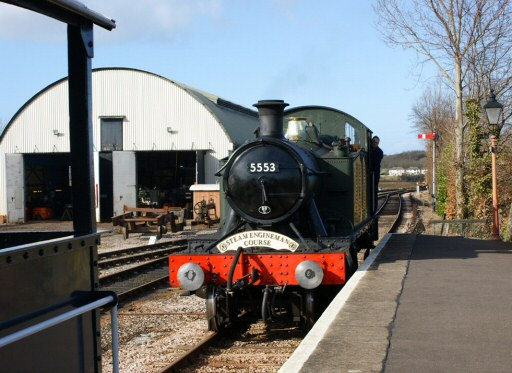 2010 - GWR 2-6-2T No. 5553 with a Steam Engineman special at Williton on 26 February. This work is licenced under a Creative Commons Licence. © Melvyn Hudd