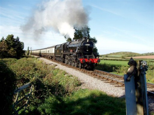 2010 - MS 4-6-0 No.44767 George Stephenson approaching Teddy Bear Crossing, Williton on 17 October. LMS 4-6-0 no 44767 George Stephenson approaching Teddy Bear Crossing on 17 October. © Malcolm Anderson
